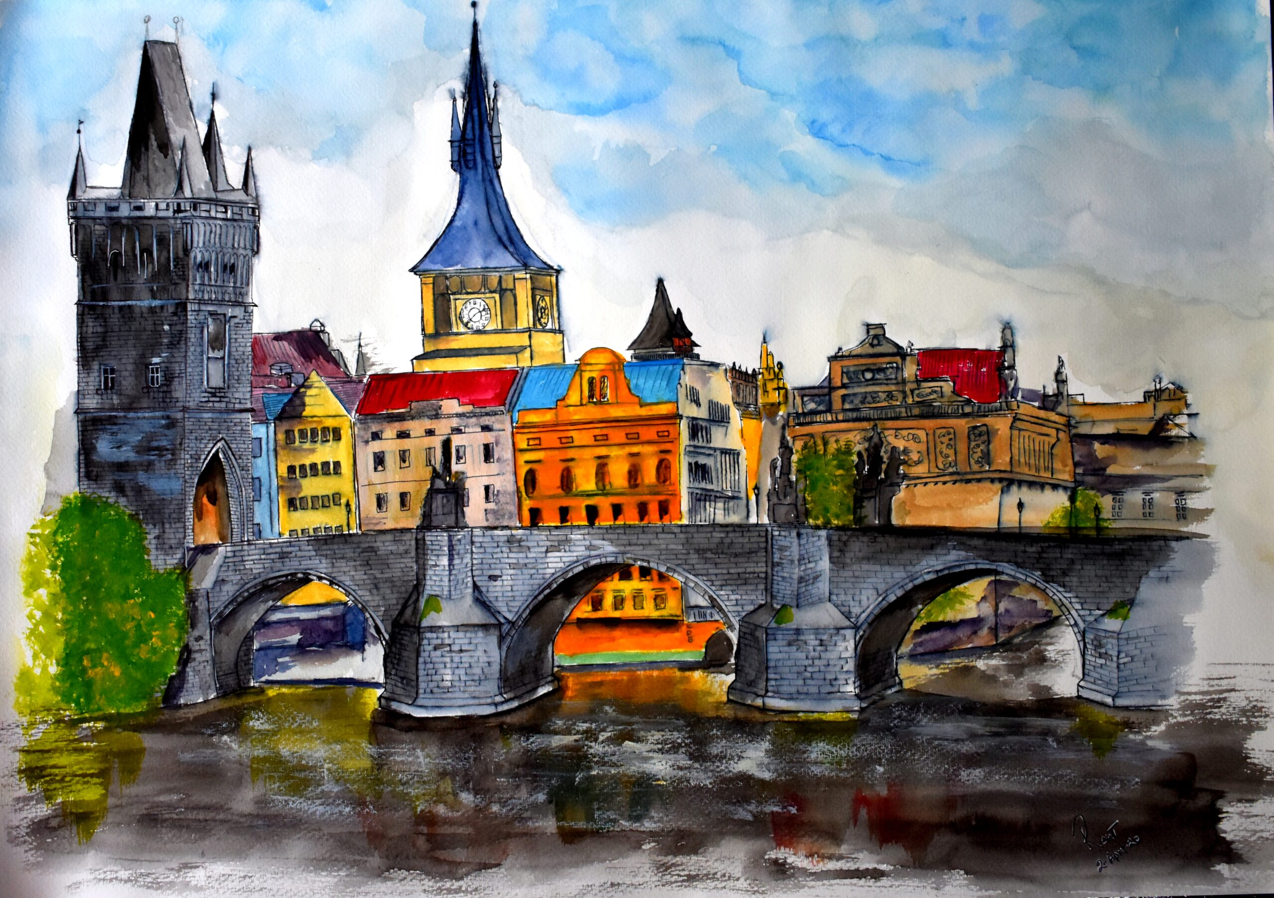 "Prague's Charles Bridge, 200 GSM PAPER, WATERCOLOUR 12"" x 18"""
