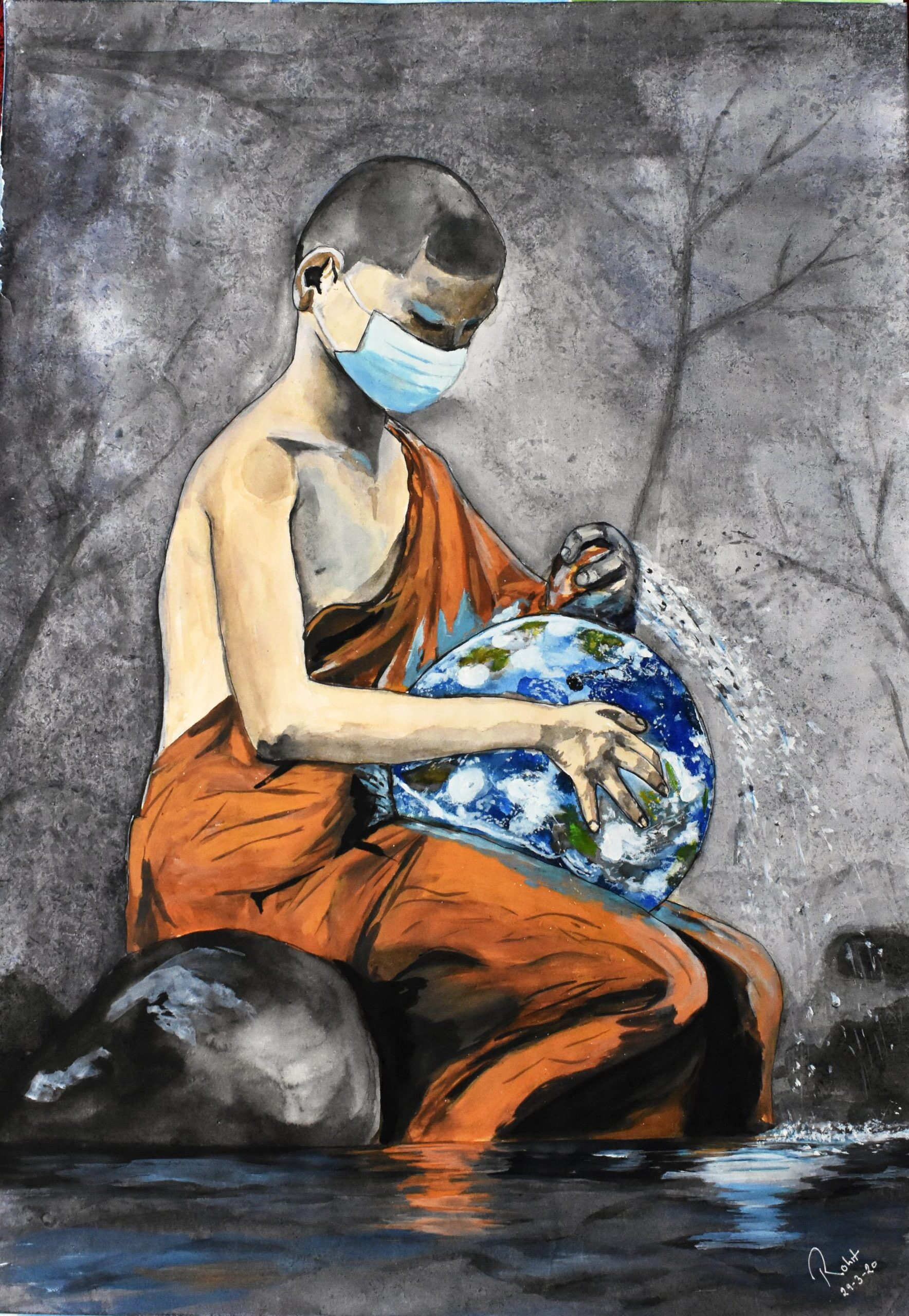 "Monk Earth Cleaning, 180 GSM PAPER, WATERCOLOUR 19"" x 25"""