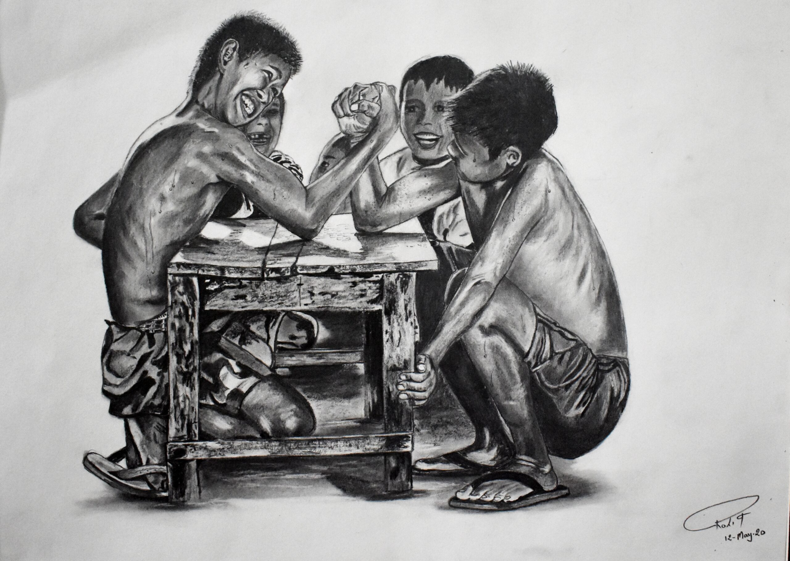 Kids Arm Wrestling,  200 GSM PAPER, 12″ x 18″ CHARCOAL
