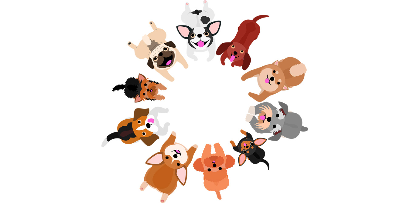group of happy cartoon dogs in circle