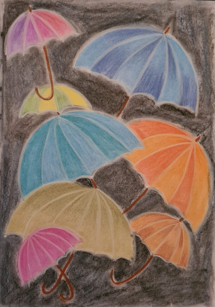 April 26th Journal page Pastels & ScrawlrSketch Umbrella