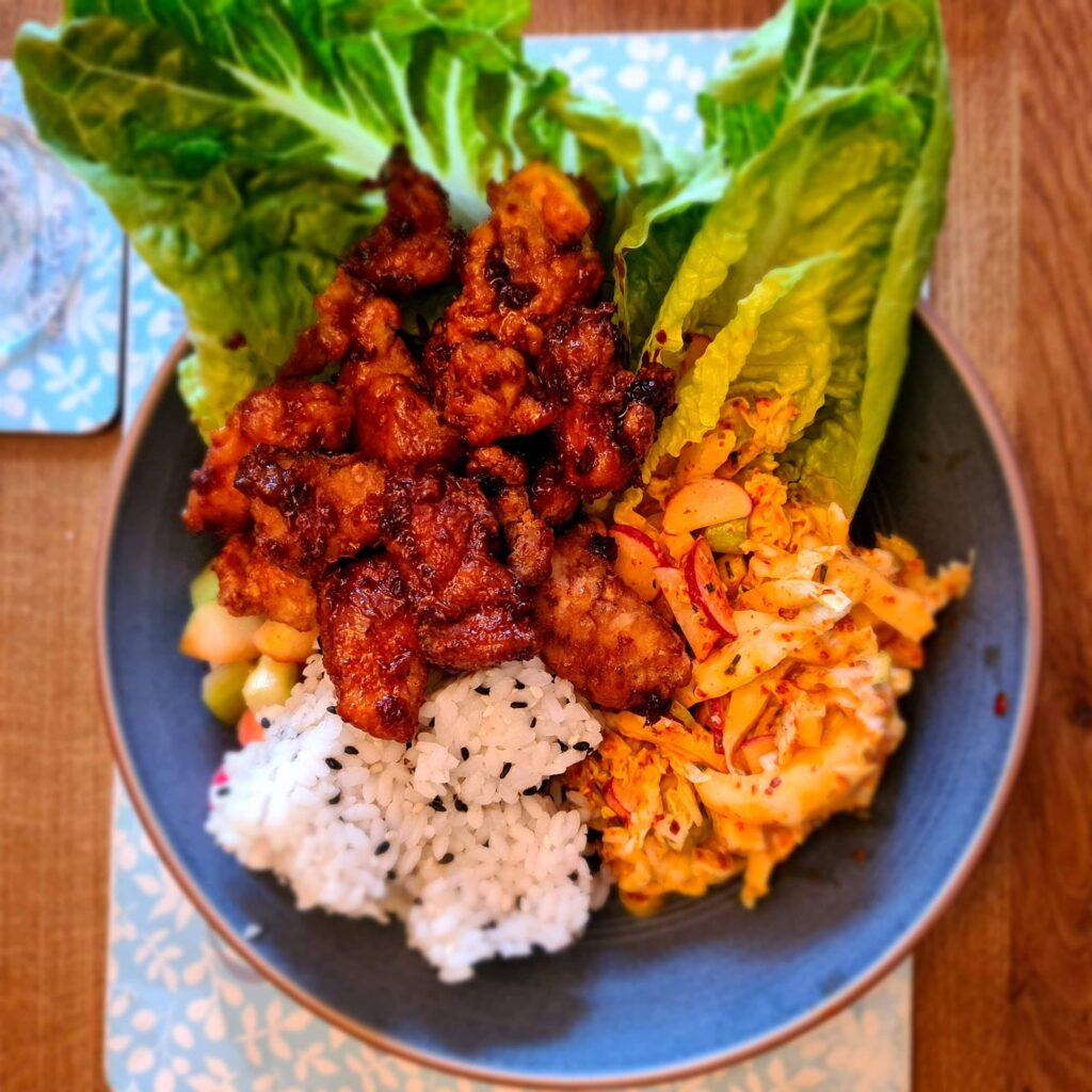 Korean Fried Chicken with Ssamjang and Kimchi Slaw