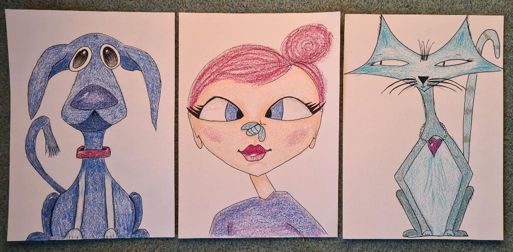 Karen Campbell MIxeed Media class - adapted to be colour pencils