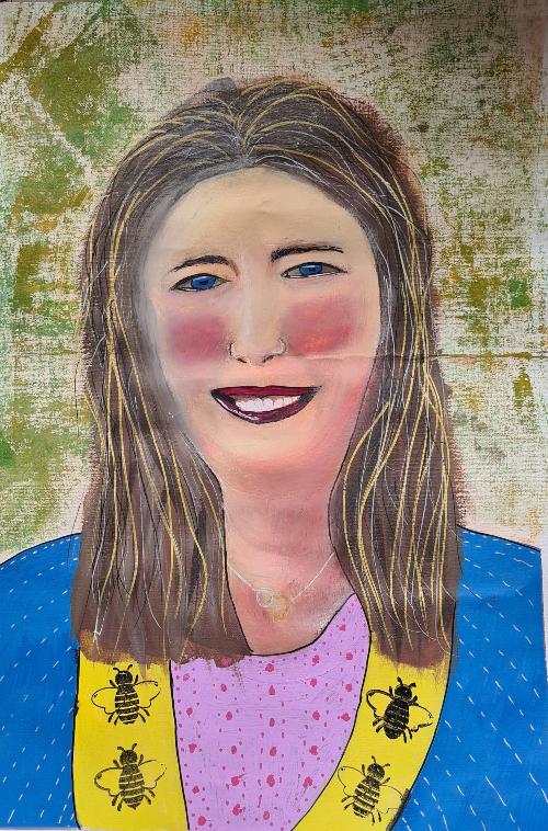 mixed media self portrait