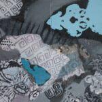 """""""Mavide Kalan Konuşmalar"""", diptik, tuval üzerine karışık teknik, 80 X 120 cm, 2018"""