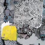 """""""Dokunuş"""", tuval üzerine karışık teknik, 100 X 130 cm, 2018"""