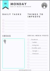 Free blog planner printables