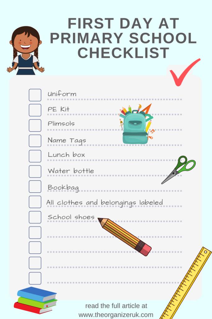 first day at school checklist