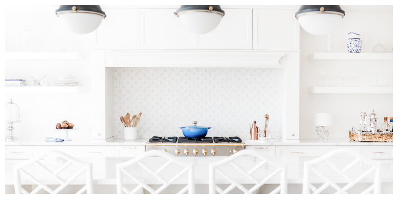 Very tidy white  minimalist kitchen , how to keep on top of housework.