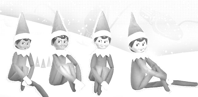 four elf on the shelf coloring page