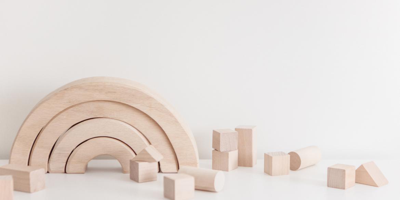 wooden rainbow and blocks
