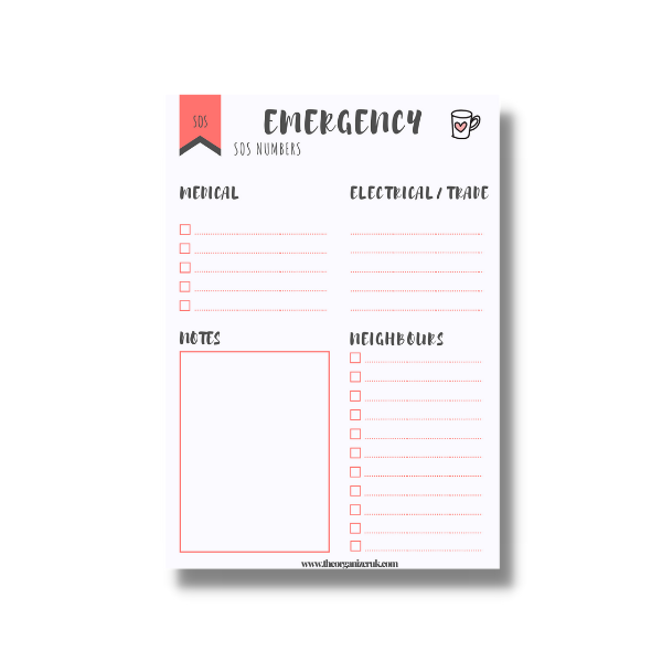 emergency numbers planner page