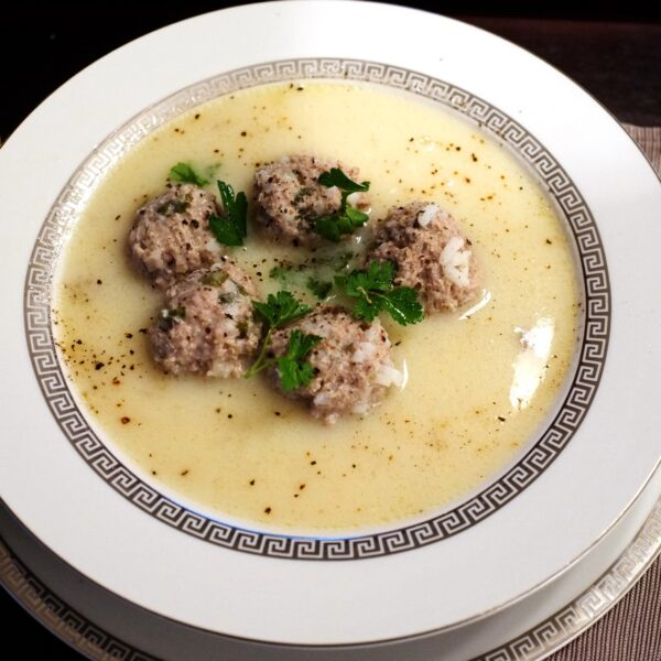Giouvarlakia, beef mince and rice soup