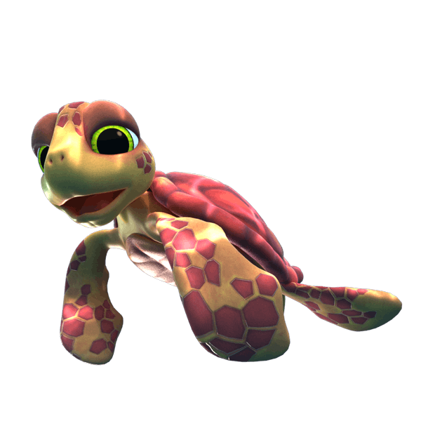 Full character design of a turtle for the Amazing Gaming Fish Hunter game promotional video