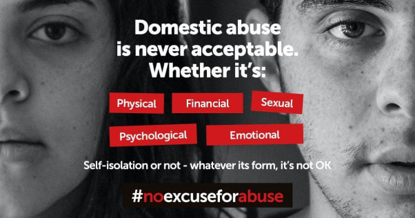 A promotion from  Preston Domestic Abuse saying domestic abuse is never acceptable