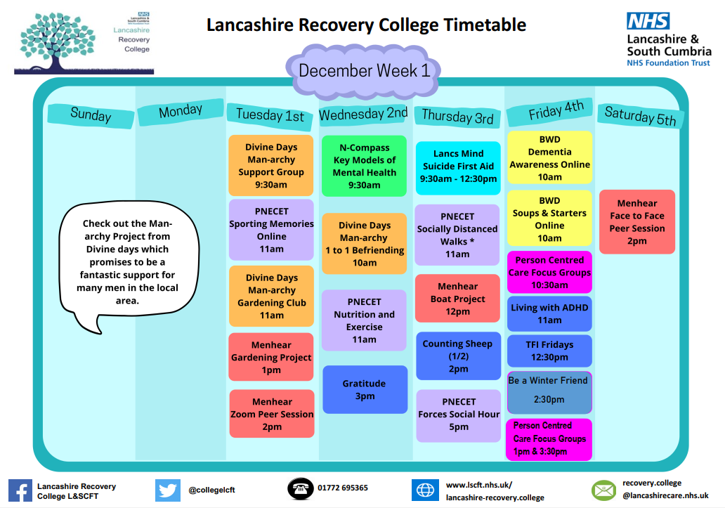 Lancashire Recovery College Timetable week 1