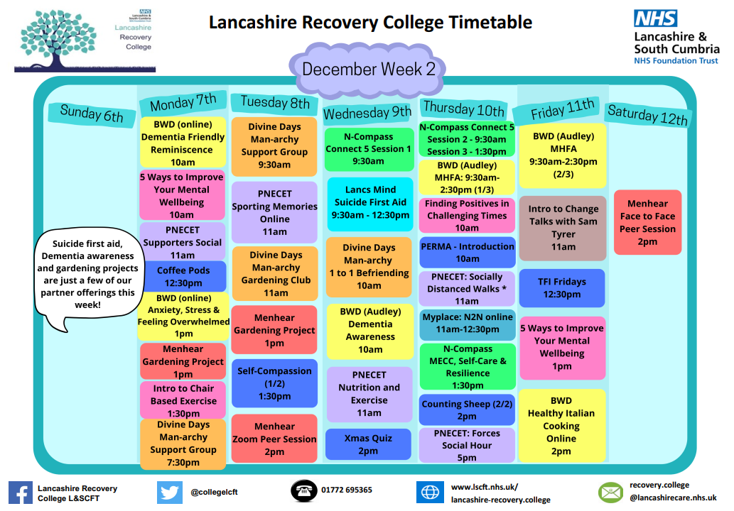 Lancashire Recovery College Timetable week 2