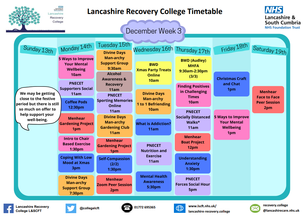 Lancashire Recovery College Timetable week 3