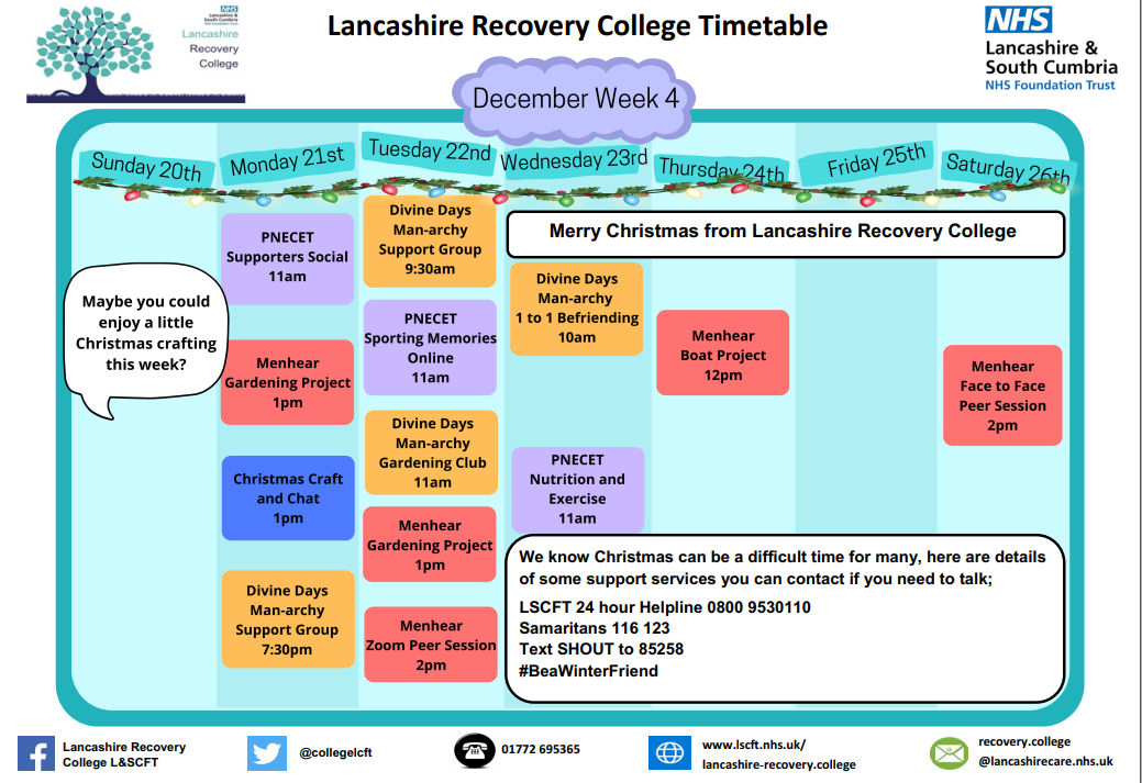 Lancashire Recovery College Timetable week 4