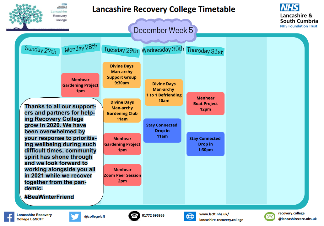 Lancashire Recovery College Timetable week 5