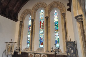 The triple lancet stained glass window