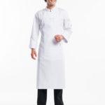 Hvidt stof forklæde m.lomme