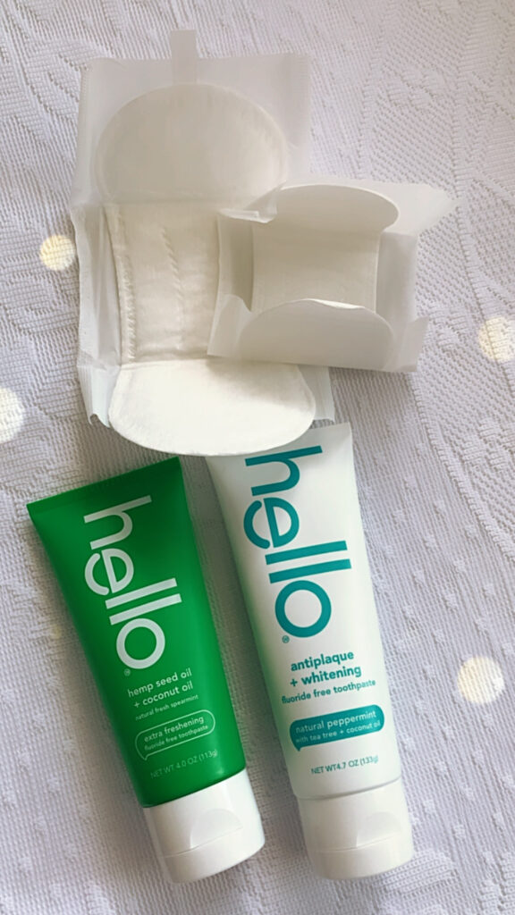 This is L. pads and Hello toothpaste