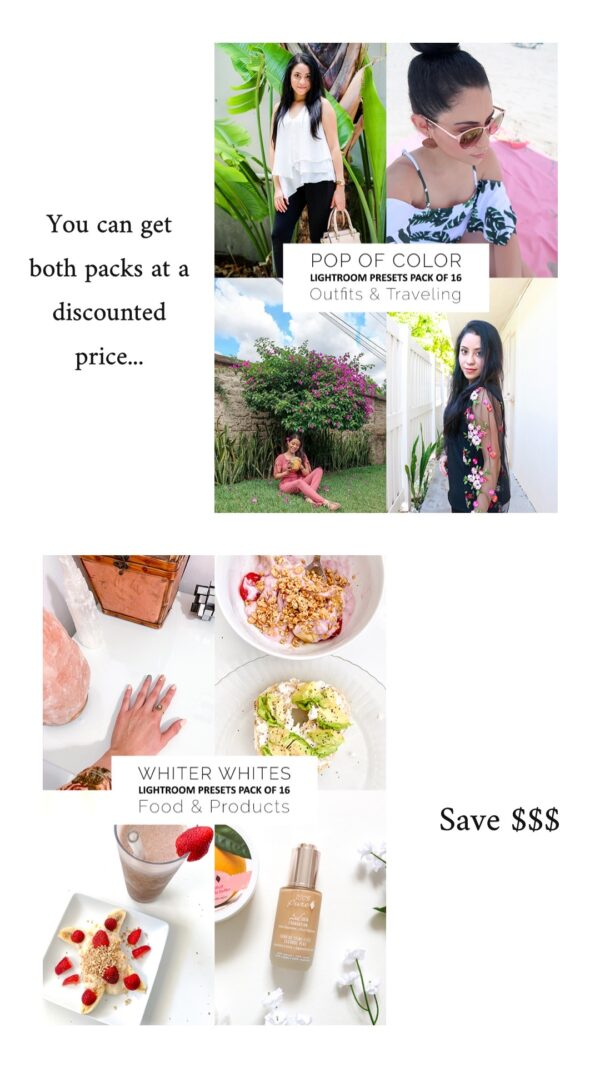 Lightroom Presets Bundle Discounted Price Pop of Color and Whiter Whites