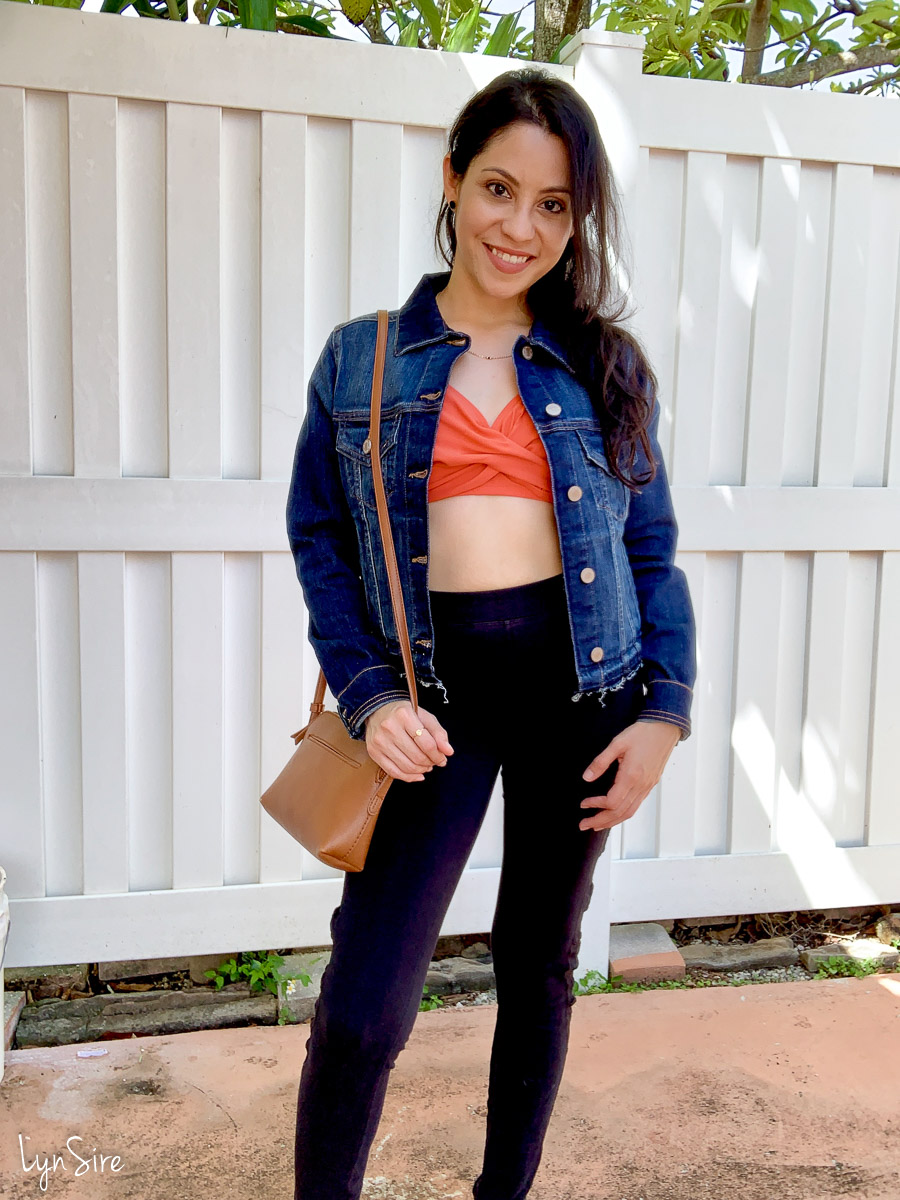 Jean Jacket and a Bikini Top with Leggings Outfit Idea