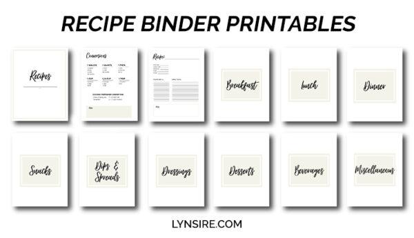 Recipe Binder Printables Template