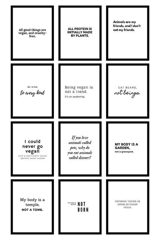 Vegan quotes inspiration printables wall art free