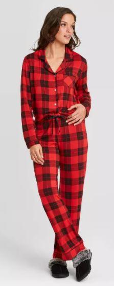 Women's Beautifully Soft Long Sleeve Notch Collar Top and Pants Pajama Set