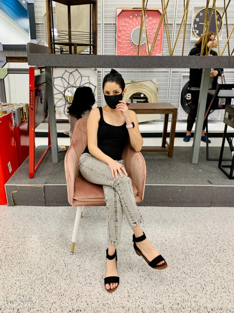 Tank top high waist jeans sandals outfit idea petite style