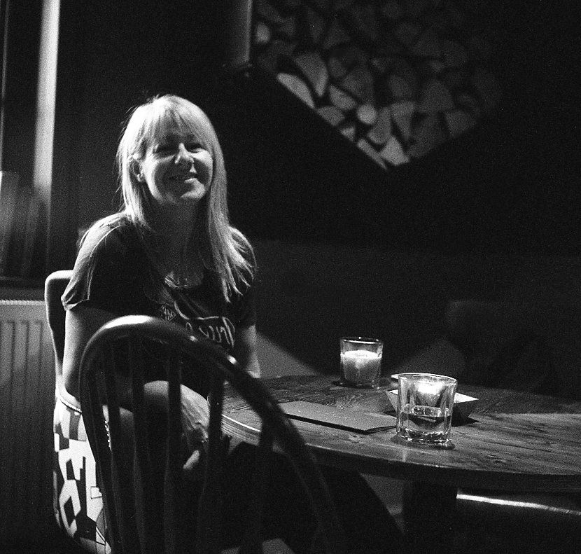 Yashica 635 TLR & Ilford Delta 3200 pub woman table seat indoor new forest hampshire portrait medium format 120 black white film analogue