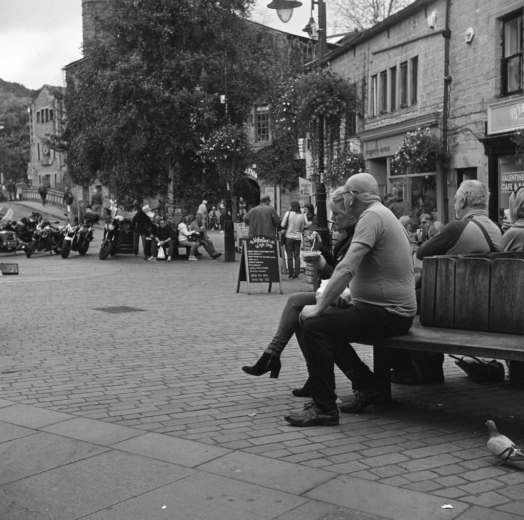 yashica 635 TLR ilford hp5 yorkshire street people village film b&w hebden bridge