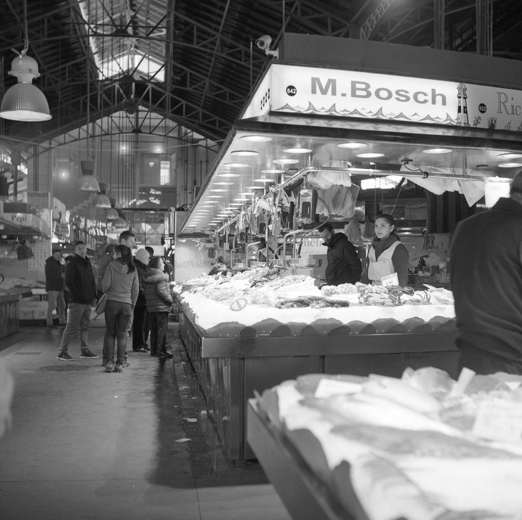 yashica 635 tlr ilford hp5 barcelona boqueria market street black white film 120 medium format ice