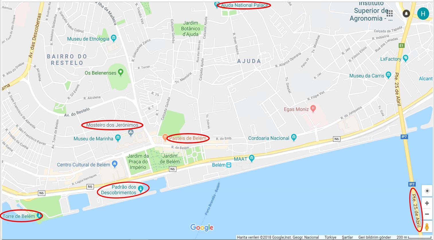 Lizbon Gezilecek Yerler Haritası, Belen Bölgesi