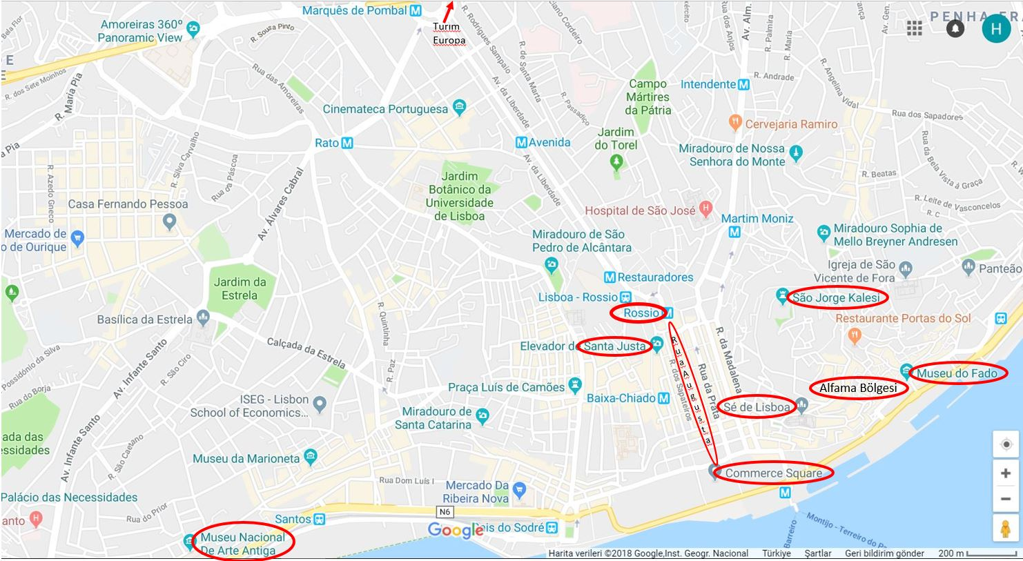 Lizbon Gezilecek Yerler Haritası, Merkez