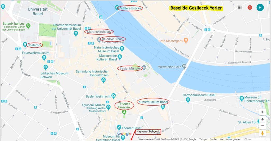 Basel 'de Gezilecek Yerler Haritası