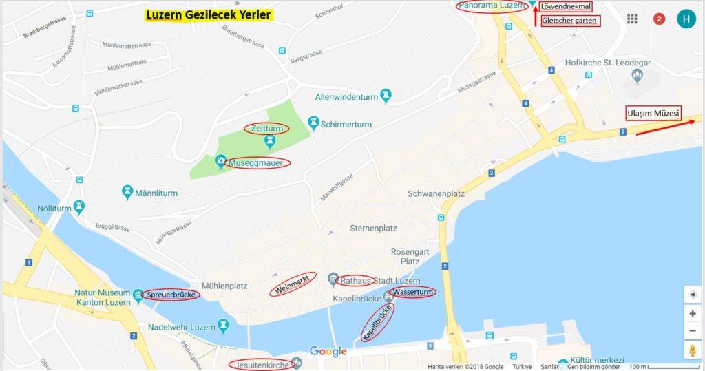 Luzern'de Gezilecek Yerler Haritası