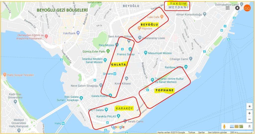 Beyoğlu Gezi Bölgeleri