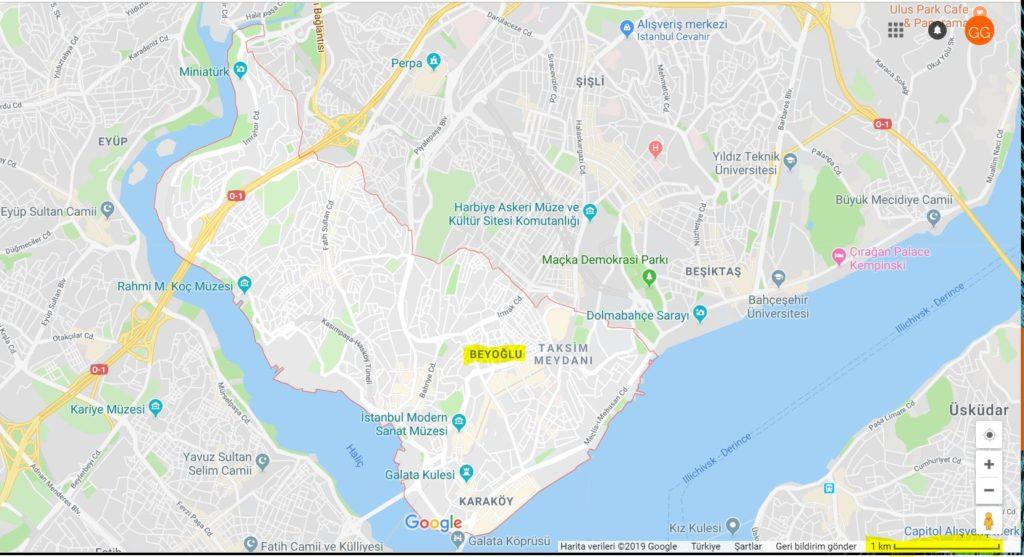 Beyoğlu'nun Haritadaki Yeri