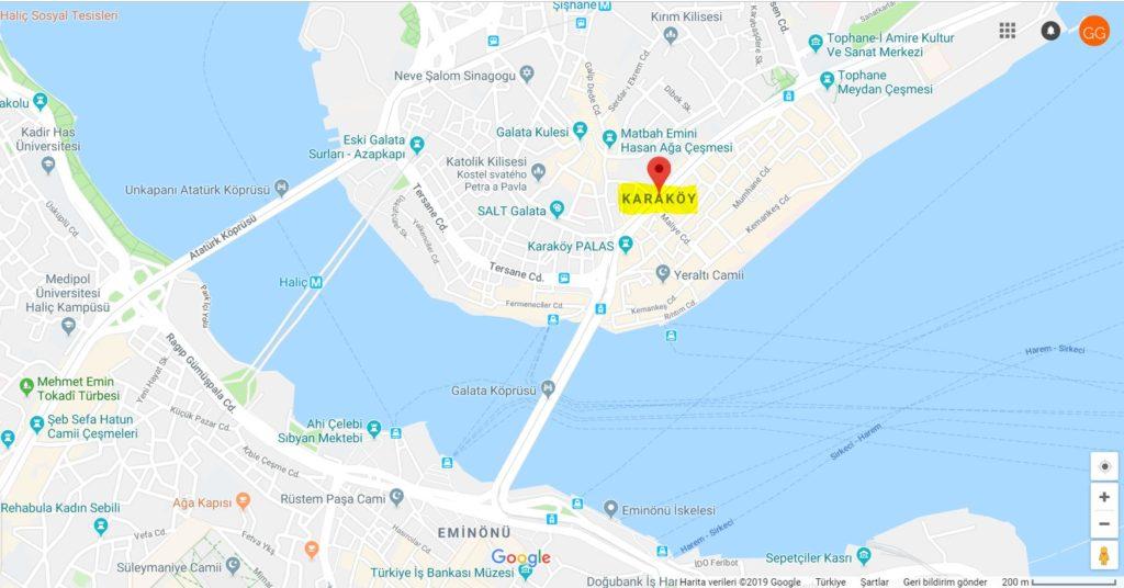 Karaköy'ün Haritadaki Yeri