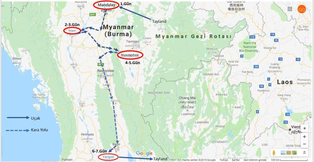 Myanmar Gezi Rotası