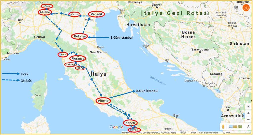 İtalya Gezi Rotası