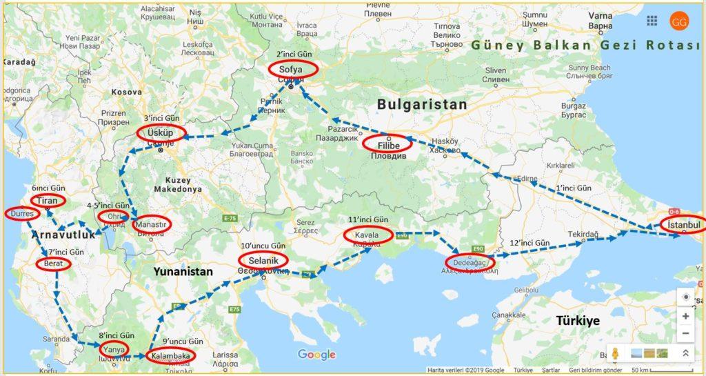 Güney Balkan Gezi Rotası