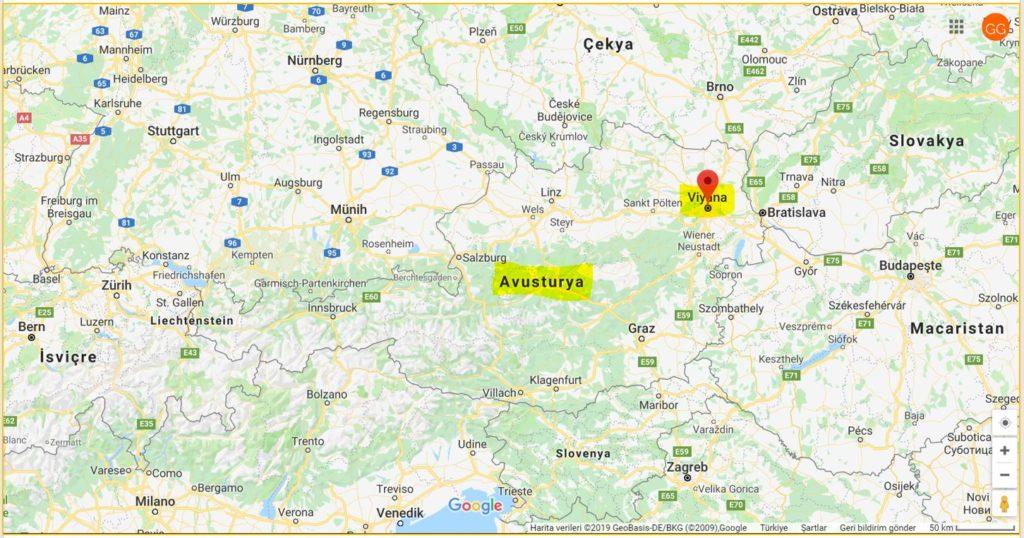 Viyana ile Avusturya'nın Haritadaki Yeri ve Komşuları