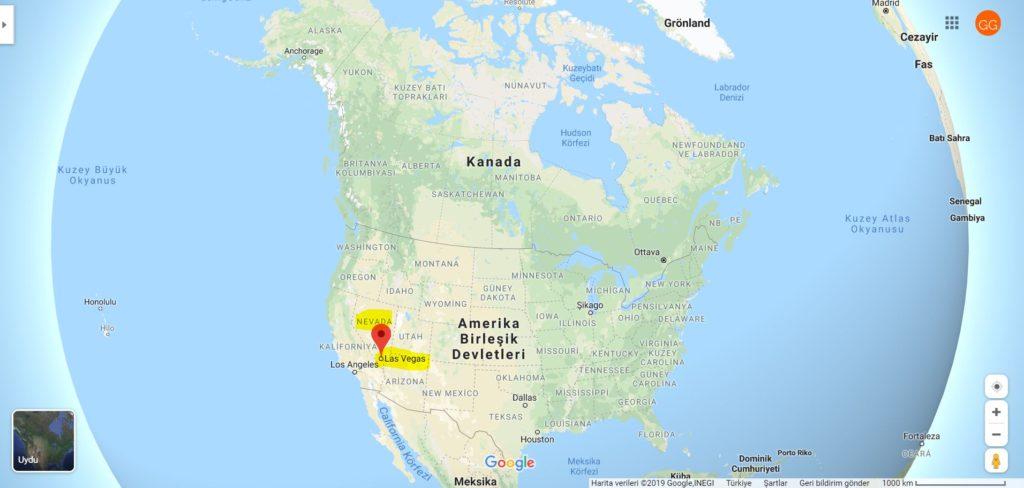 Las Vegas'ın Dünya Haritasındaki Yeri
