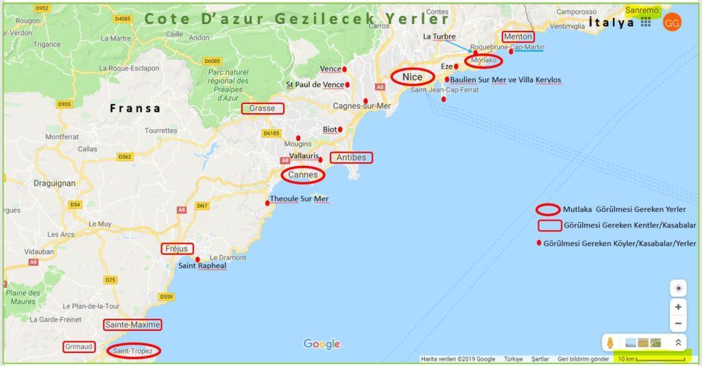 Cote d'Azur Gezilecek Yerler