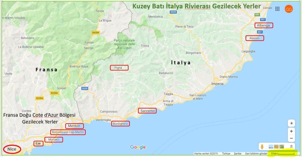 Kuzeybatı İtalya Rivierası Gezilecek Yerler